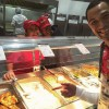 At dining hall with 2 kind Brazilian volunteer serving my dinner. Looking delicious!  今から夕食です。
