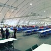 Dining hall at Olympic Village.  I heard that this is second largest tent in the world.選手村の食堂です。