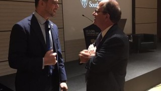"Today I had opportunity to attend for ""USC Global Conference"" in Tokyo as speaker. It was my privilege to see President Dr Nikias. We briefly talked about ancient Olympic history! Thank you so much! Efhalisto poli!"